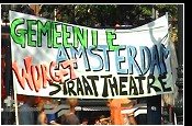 Street theater performers protest Sept. 5th, 2004 in Amsterdam